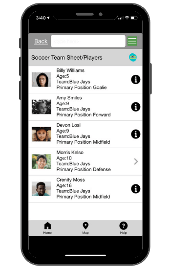 Soccer team app template
